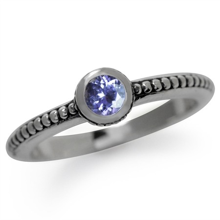 Genuine Tanzanite 925 Sterling Silver Stack/Stackable Bali/Balinese Style Ring