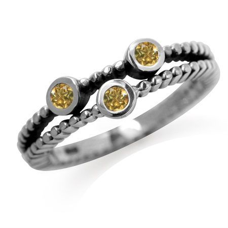 3-Stone Genuine Citrine 925 Sterling Silver Stack/Stackable Ring