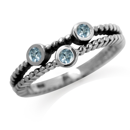 3-Stone Genuine Blue Topaz 925 Sterling Silver Stack/Stackable Ring