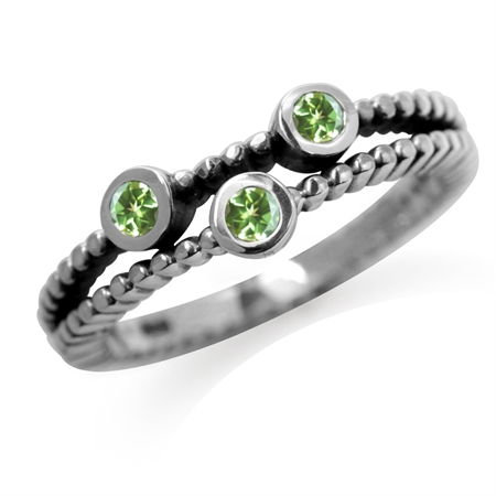 3-Stone Natural Peridot 925 Sterling Silver Stack/Stackable Ring