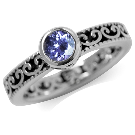 Genuine Tanzanite 925 Sterling Silver Stack/Stackable Filigree Ring