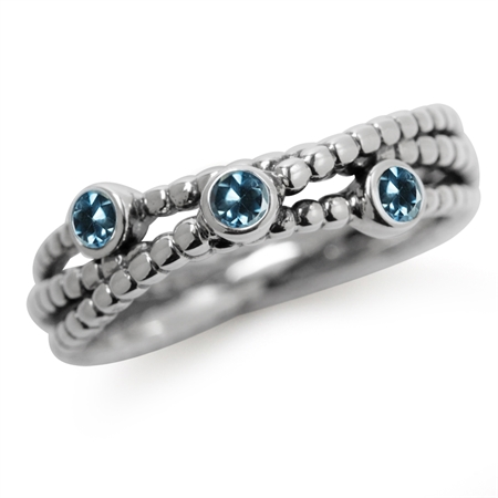 3-Stone Genuine London Blue Topaz 925 Sterling Silver Stack/Stackable Ribbon Ring