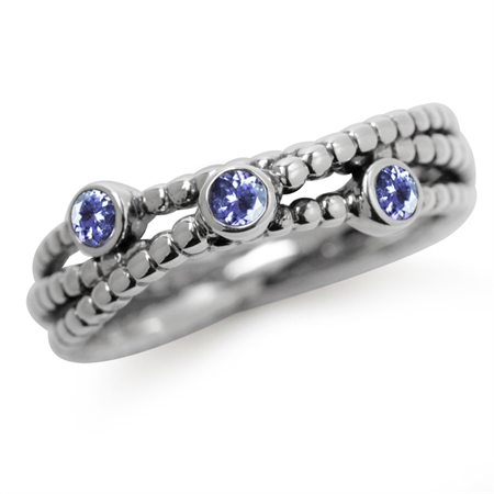3-Stone Genuine Tanzanite 925 Sterling Silver Stack/Stackable Ribbon Ring