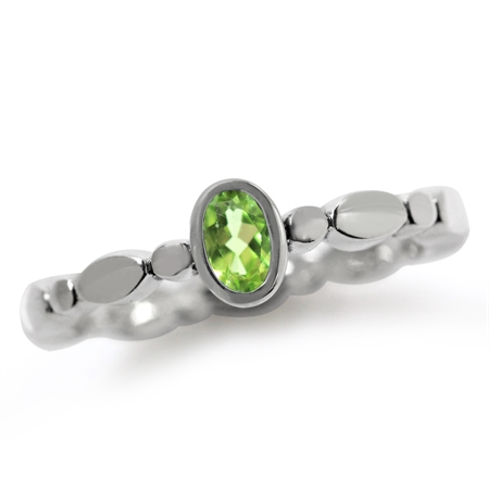 Natural Peridot 925 Sterling Silver Stack/Stackable Solitaire Ring