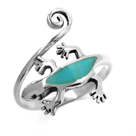 Created Green Turquoise 925 Sterling Silver Gecko Bypass Ring
