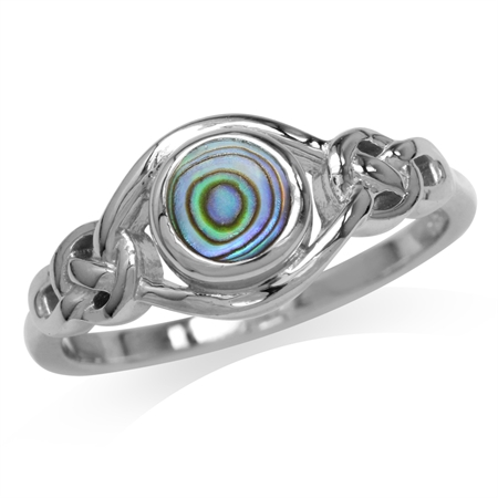 Abalone/Paua Shell 925 Sterling Silver Celtic Knot Solitaire Ring