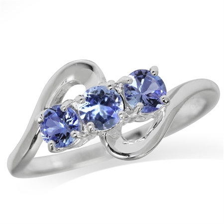 3-Stone Genuine Tanzanite 925 Sterling Silver Ring