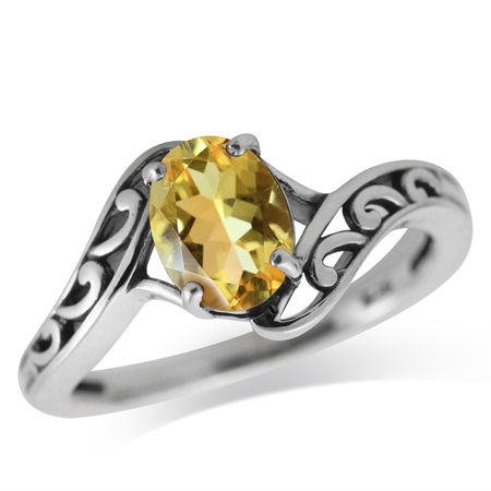 1.08ct. Natural Citrine 925 Sterling Silver Filigree Solitaire Ring