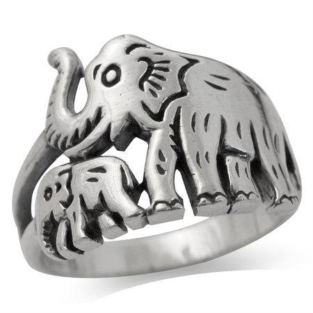 925 Sterling Silver Mother & Baby Elephant Ring