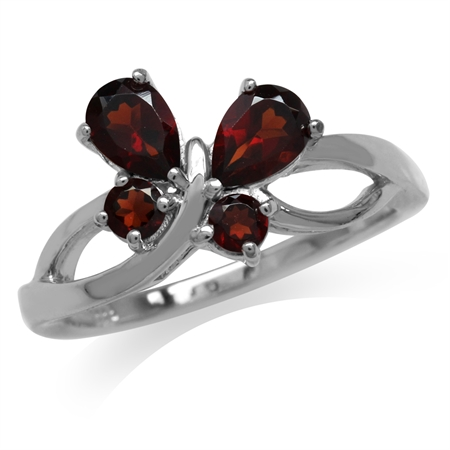 1.38ct. Natural Garnet 925 Sterling Silver Butterfly Ring
