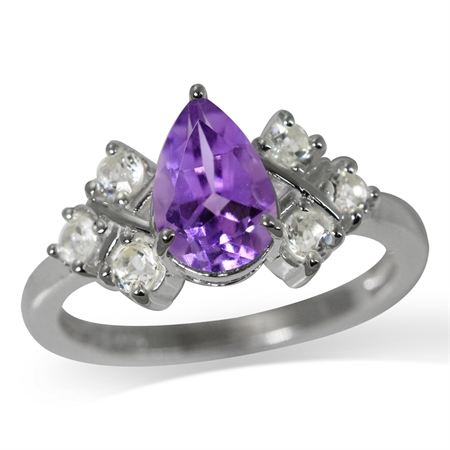 1.14ct. Natural Amethyst & White Topaz 925 Sterling Silver Cocktail Ring