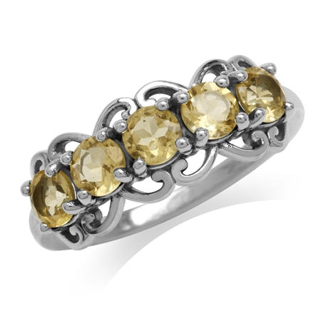 1.2ct. 5-Stone Natural Citrine 925 Sterling Silver Victorian Style Ring