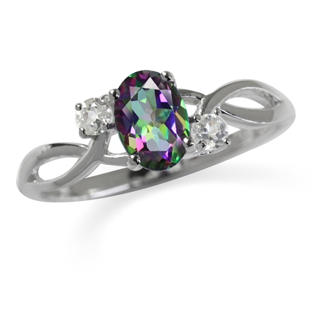 1ct. Mystic Fire Topaz White Gold Plated 925 Sterling Silver Engagement Ring