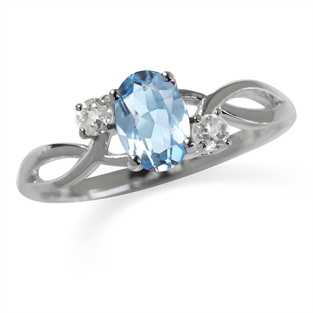 Genuine Blue Topaz White Gold Plated 925 Sterling Silver Engagement Ring