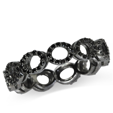 5MM Black CZ 925 Sterling Silver Eternity Ring