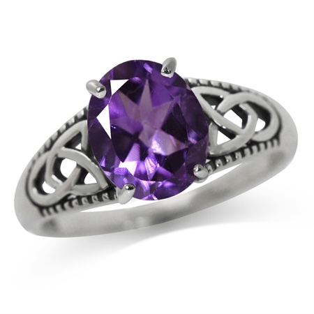 2.36ct. Natural African Amethyst 925 Sterling Silver Triquetra Celtic Knot Solitaire Ring