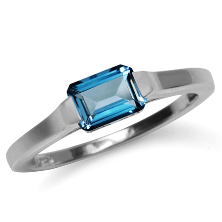 1.14ct. Genuine Octagon Shape London Blue Topaz White Gold Plated 925 Sterling Silver Solitaire Ring