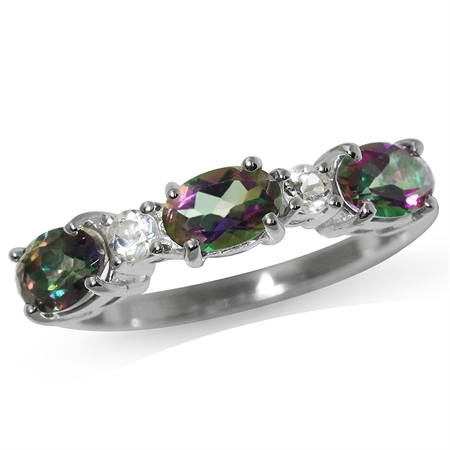 1.62ct. Mystic & White Topaz 925 Sterling Silver Ring