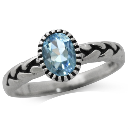 Genuine Blue Topaz 925 Sterling Silver Rope Solitaire Ring