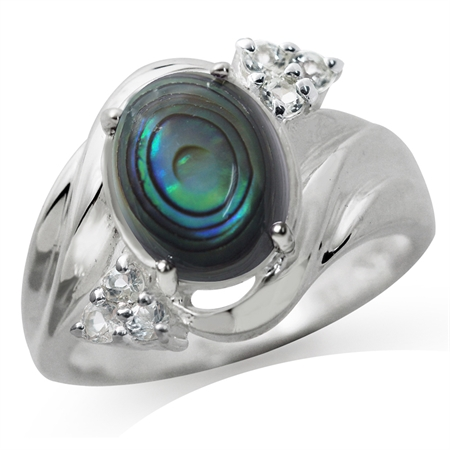 Abalone/Paua & White Topaz 925 Sterling Silver Glamorous Ring