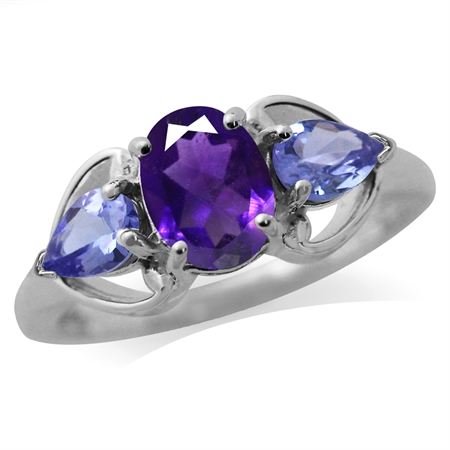 1.14ct. Natural African Amethyst & Tanzanite 925 Sterling Silver Classic Ring