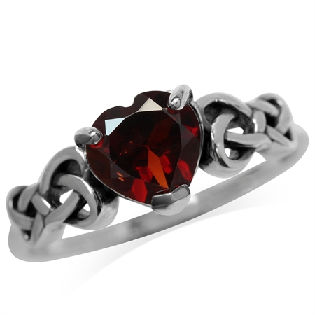 1.15ct. Natural Heart Shape Garnet 925 Sterling Silver Celtic Knot Ring