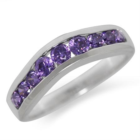 Amethyst Purple CZ 925 Sterling Silver Journey Ring