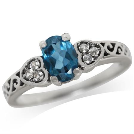 Genuine London Blue & White Topaz 925 Sterling Silver Heart Filigree Band Ring