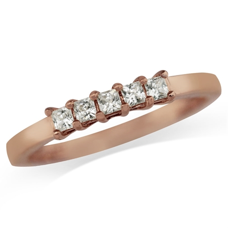 5-Stone White CZ Rose Gold Plated 925 Sterling Silver Ring