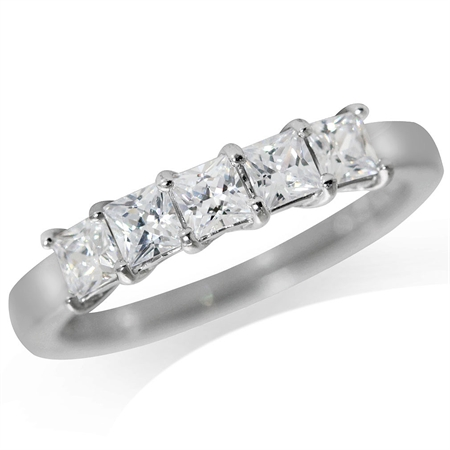 5-Stone CZ White Gold Plated 925 Sterling Silver Ring
