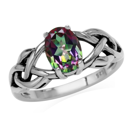 1.44ct. 8x6MM Oval Shape Mystic Fire Topaz 925 Sterling Silver Celtic Knot Solitaire Ring