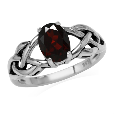 1.4ct. 8x6MM Natural Oval Shape Garnet 925 Sterling Silver Celtic Knot Solitaire Ring