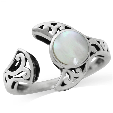 White Mother of Pearl (MOP) 925 Sterling Silver Filigree Moon Solitaire Adjustable Ring