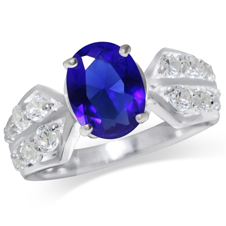 Sapphire Blue & White CZ 925 Sterling Silver Classic Ring