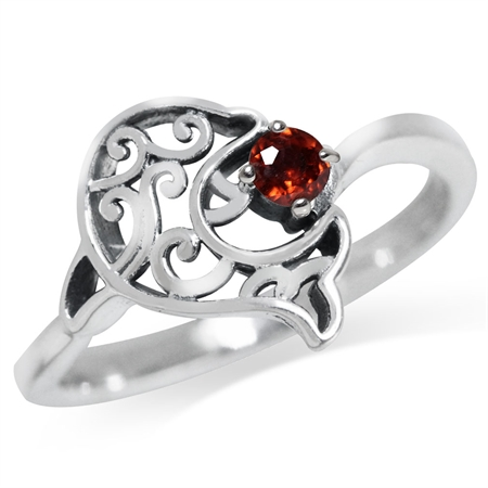 Natural Garnet 925 Sterling Silver Dolphin Filigree Solitaire Ring