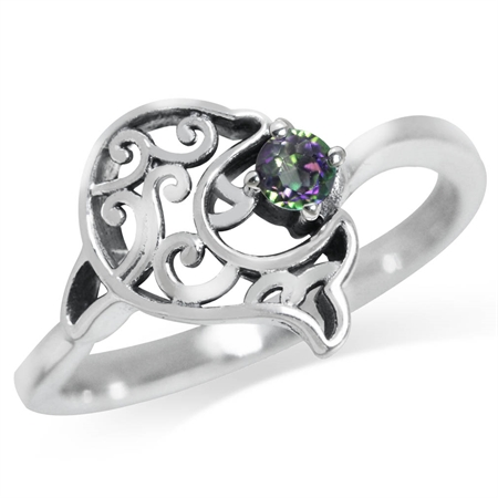 Mystic Fire Topaz 925 Sterling Silver Dolphin Filigree Solitaire Ring