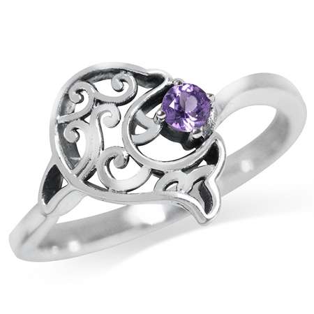 Natural Amethyst 925 Sterling Silver Dolphin Filigree Solitaire Ring