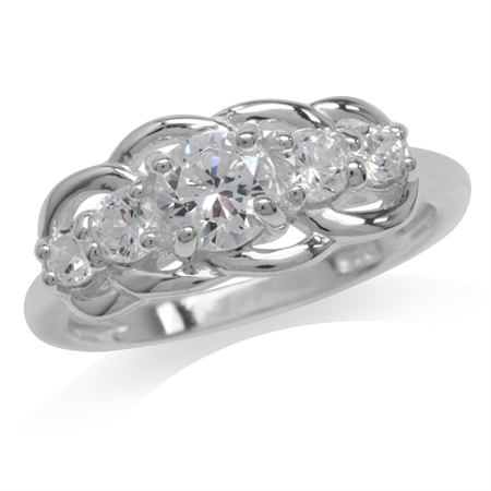 5-Stone White CZ 925 Sterling Silver Classic Ring