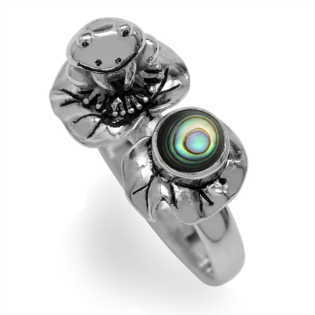 Abalone/Paua Shell 925 Sterling Silver Lotus Leaf & Frog Ring
