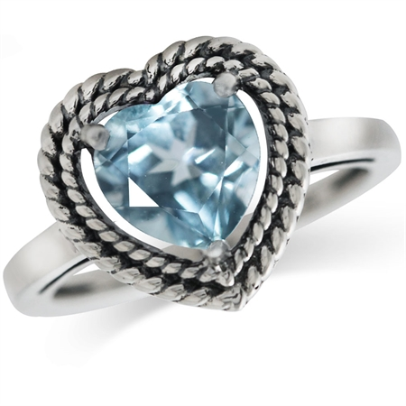 2.28ct. Genuine Heart Shape Blue Topaz 925 Sterling Silver Rope Solitaire Ring