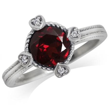 1.39ct. Natural Garnet & White Topaz 925 Sterling Silver Petite Hearts Ring