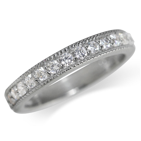 CZ White Gold Plated 925 Sterling Silver Journey Ring