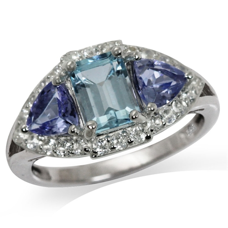 1.17ct. Genuine Blue Topaz & Tanzanite White Gold Plated 925 Sterling Silver Cocktail Ring