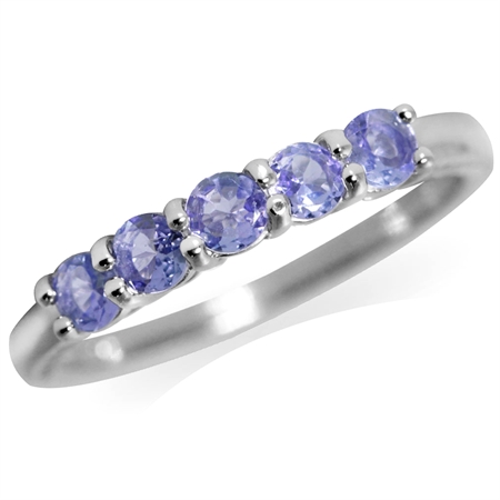 5-Stone Genuine Tanzanite White Gold Plated 925 Sterling Silver Ring
