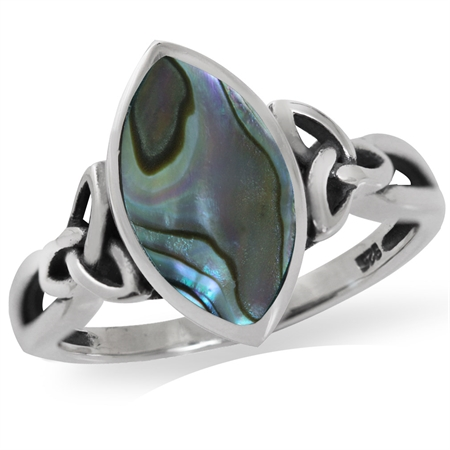 Abalone/Paua Shell 925 Sterling Silver Triquetra Celtic Knot Solitaire Ring