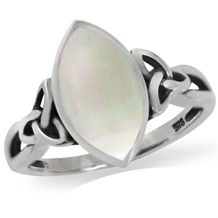 White Mother of Pearl (MOP) 925 Sterling Silver Triquetra Celtic Knot Solitaire Ring