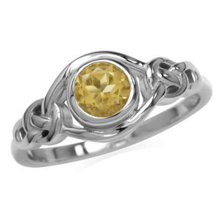 Genuine Citrine White Gold Plated 925 Sterling Silver Celtic Knot Ring