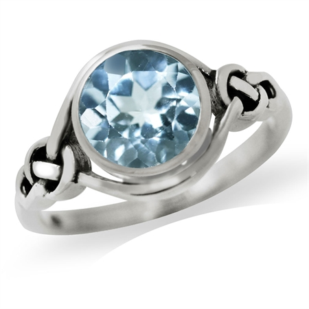 2.41ct. Genuine Blue Topaz 925 Sterling Silver Celtic Knot Solitaire Ring