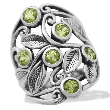 1.8ct. Natural Peridot 925 Sterling Silver Filigree Leaf Ring