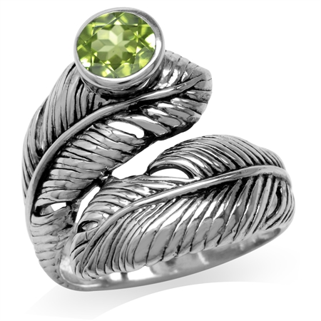Natural Peridot 925 Sterling Silver Bypass Feather Ring